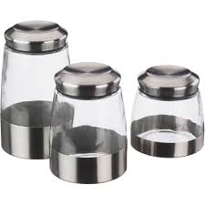 home accessories unique shape of glass canisters with silver lid