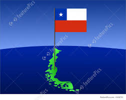 Cile Flag Illustration Of Map Of Chile With Flag