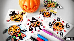 halloween cartoon drawings how to draw cartoon pumpkins halloween doodles by garbi kw
