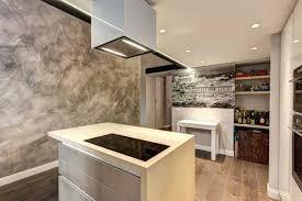 enduit decoratif cuisine enduit à la chaux moderne taupe et plafond dans un loft