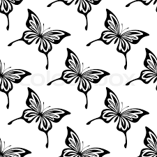 repeat seamless black and white pattern of butterflies with