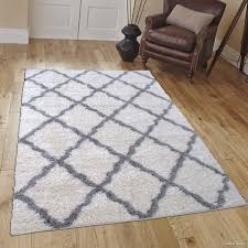 High Pile Area Rugs Ivory Grey Modern High Pile Posh Shaggy Trellis Patterned Area