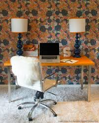 Antique Double Desk Lamp Bright Retro Home Office Design With Orange Office Desk And Floral