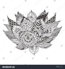 handdrawn lotus flower ethnic floral doodle stock vector 421772836