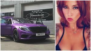 pink sparkly mercedes mercedes s class wrapped in purple for footballer u0027s wife is