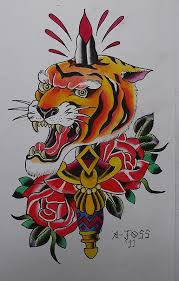 traditional tiger n dagger tattoo design tiger and knife tattoo