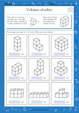 volumes of cubes math practice worksheet grade 4 teachervision