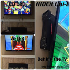 wall mounted l with cord it s easy to hide the wires when everything is behind the tv the