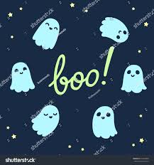 halloween background set cute cartoon ghosts stock vector