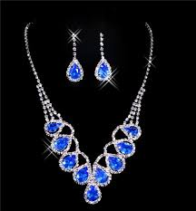 beautiful earring necklace set images Beautiful blue crystal wedding bridal jewelry set including jpg