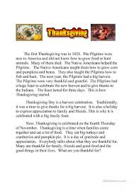thanksgiving text and quiz running dictation worksheet free esl