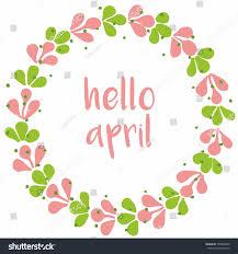 hello april watercolor vector wreath stock vector 356956940