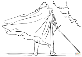 kylo ren with lightsaber coloring page free printable coloring pages