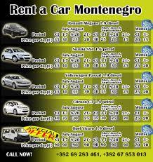 rent a price rent a car montenegro eng transfer montenegro