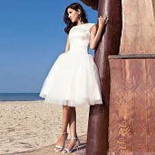 simple white beach wedding dresses short cap sleeve puffy tulle