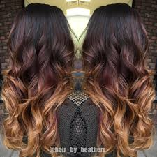 hombre style hair color for 46 year old women dark chocolate to red to copper blonde ends beautiful balayage