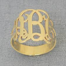 monogram ring gold solid 10kt 14kt gold 3 initial monogram ring jewelry