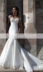 017 mermaid wedding dresses short sleeves appliques lace illusion