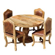 Round Dining Sets Dining Set For 4 Empire Mango Wood With Upholstered
