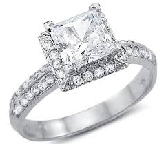 cubic zirconia white gold engagement rings solid 14k white gold princess cut cz cubic zirconia