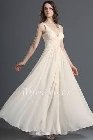 cream shoulder straps plunging v neck a line chiffon bridesmaid
