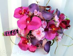 wedding flowers orchids hot pink brides bouquet orchid calla cherry blossom silk wedding