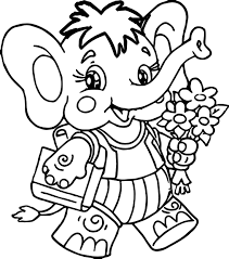 elephant and flower coloring page wecoloringpage
