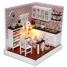 dolls house kitchen furniture novelty miniature diy wood doll house kitchen model play toys with