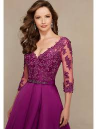 line 3 4 length sleeve v neck long purple satin and lace appliques