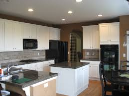 Black And White Laminate Flooring Brown Kitchen Wall Paint With White Wooden Kitchen Cabinet And