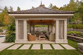 covered outdoor seating exterior design cozy gazebos with copper roof and curtains with