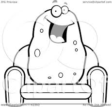 Couch Cartoon Cartoon Clipart Of A Black And White Happy Potato Sitting On A