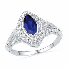 all sapphire rings images Marquise cut lab created blue sapphire and 0 30 ct t w diamond jpg