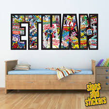 childrens personalised name wall stickers marvel avengers boys childrens personalised name wall stickers marvel avengers boys girls bedroom art