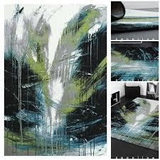 Wohnzimmer Farbe Blau Exklusiver Designer Teppich Mit Tollem Brush Effekt In Grau Grün