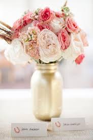 Mason Jar Floral Centerpieces Vail Colorado Wedding From Sweet Pea Flowers Gold Mason Jars