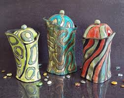 colorful pottery etsy