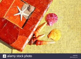 Old Fashioned Photo Albums Old Fashioned Album Colored Seashells On The Sacking Stock Photo