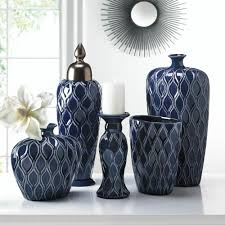 Home Decor At Wholesale Prices by Wholesale Dark Blue Ceramic Vase Wide Shape Stoneware Floral Vase