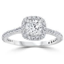 14k white gold 1 1 5 ct tdw cushion halo engagement - Overstock Engagement Rings