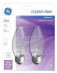 ceiling fan light bulbs general electric 22756 2 count 25 watt torpedo ceiling fan light