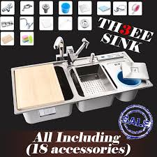 Cheap Stainless Steel Sinks Kitchen by Online Get Cheap Triple Bowl Stainless Steel Sink Aliexpress Com