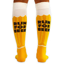 knee high halloween socks yakety yak knee socks will run for beer amber brown white