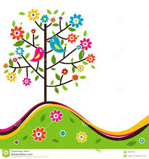 decorative floral tree and bird vector stock vector illustration