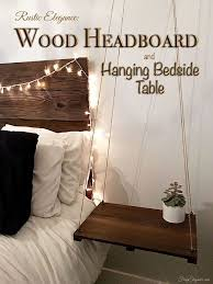 rustic headboard with hanging bedside table hometalk
