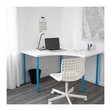 Blue Computer Desk Linnmon Adils Corner Table White Ikea
