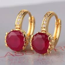 hoops earrings india hoops earrings 24k gold plated ruby hoop earrings online