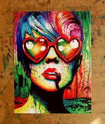 signed art print punk rock pop art rainbow splatter portrait