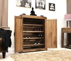 Entryway Shoe Storage Solutions Simple Brown Stained Wooden Double Pull Out Shoe Storage Organizer