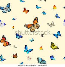 watercolor pattern beautiful butterflies flying butterfly stock